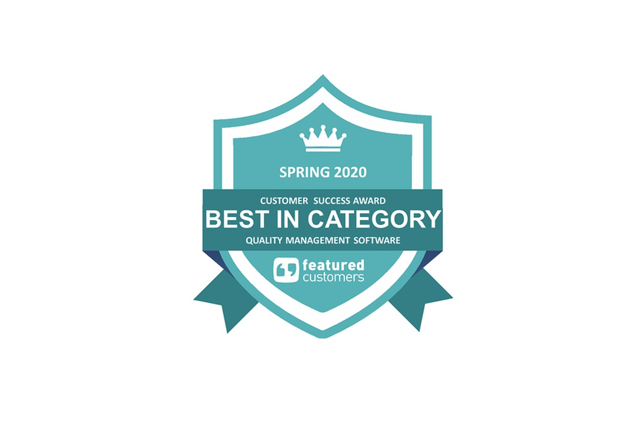 Spring 2020 Customer Success Award Best in Category Quality Management Software from featured customers